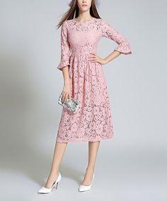 Pink Floral Lace Sheath Dress - Women