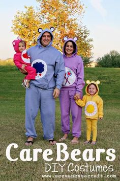 Last Minute DIY Kids Halloween Costumes - for the whole family Care Bear Costume Do you procrastinate when it comes to Halloween costumes? Here are 10 cute simple halloween costumes using many things you already have Costume Halloween, Bear Halloween, Holidays Halloween, Halloween Party, Halloween 2014, Group Halloween, Care Bear Costumes, Cute Costumes, Adult Costumes
