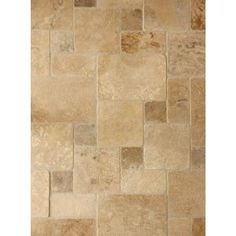 Need to check how large the tiles are. Daltile Travertine Peruvian Cream Paredon Pattern Natural Stone Floor and Wall Tile Kit sq. / at The Home Depot