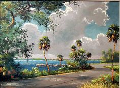 Their palette included vibrant colors of verdant greens, sunset oranges - and blues and grays that often featured the sun or moon backlighting the scene. The Highwaymen often painted from memory as they captured scenes of the natural Florida they had grown up with, one that was yielding to the development brought on by the state's mid-Twentieth Century growth.  By necessity, the men (and one woman) painted as an alternative to the backbreaking work of picking and packing Florida citrus – a… Landscape Paintings, Watercolor Landscape, Watercolor Art, Sunshine State, Vintage Florida, Old Florida, Bloomington Indiana, Selling Paintings, Tropical Art