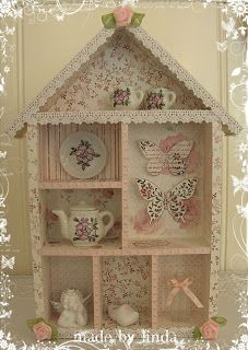 Crafty Projects, Projects To Try, Scrapbook Canvas, Shadow Box Art, Flea Market Decorating, Decoupage Box, Cute Box, Box Houses, Altered Boxes
