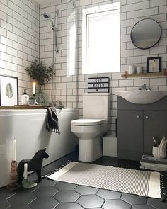 55 Subway Tile Bathroom Ideas That Will Inspire You Subway Tile Ba. - 55 Subway Tile Bathroom Ideas That Will Inspire You Subway Tile Bathroom Ideas That W - Upstairs Bathrooms, Rustic Bathrooms, Modern Bathroom, Tiled Bathrooms, Master Bathrooms, Dark Floor Bathroom, Small Bathroom With Tub, Tile Floor, White Subway Tile Bathroom
