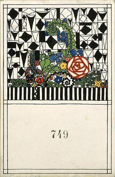 Decorative Card (Schmuckkarte)  Anonymous, Austrian, Viennese, 20th century, ca. 1907-14. postcards for the Wiener Werkstätte