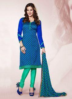 Blue #Chanderi #Churidar #Suit