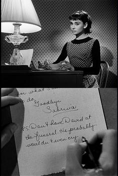 "Audrey Hepburn in ""Sabrina"" with her handwritten note, 1954 Sabrina Audrey Hepburn, Audrey Hepburn Photos, Aubrey Hepburn, Classic Hollywood, Old Hollywood, Hollywood Images, Hollywood Actresses, Goodbye Note, Sabrina 1954"