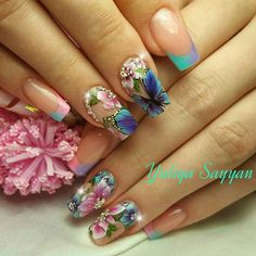 Heat Up Your Life with Some Stunning Summer Nail Art Butterfly Nail Designs, Butterfly Nail Art, Pretty Nail Art, Beautiful Nail Designs, Nail Art Designs, Flower Nails, Gorgeous Nails, Blue Nails, Nails Inspiration