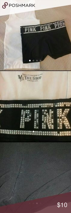 Victoria's Secret PINK Cutoffs Shorts Good used condition Light spot on back of shorts and small spot on tank. Bling missibg. Both are small Both for $10 PINK Victoria's Secret Shorts
