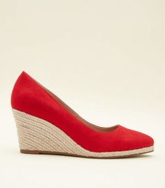 Red Suedette Pointed Espadrille Wedges