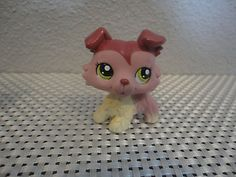 LPS-Littlest-Pet-Shop-PetShop-MAUVE-CREAM-PINK-COLLIE-DOG-GREEN-EYES-1723