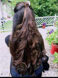 68 Trendy Hair Highlights For Brunettes Half Up Long Dark Hair, Long Layered Hair, Very Long Hair, Braids For Long Hair, Wavy Hair, Thin Long Hair Cuts, Short Hair, Haircuts For Long Hair, Hairstyles Haircuts