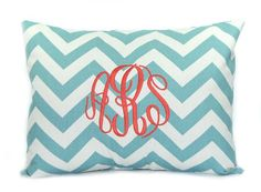 Personalized Monogrammed Pillow with Insert Decorative Throw Pillow Cover Chevron Personalized Home Decor 12 x 16 Baby Gift Dorm Decor on Etsy, $34.00