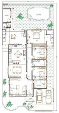 Projeto de casa térrea de 3 quartos com 170,35m²