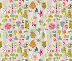 Giant Protozoa Bestiary Multi Light fabric by chantal_pare on Spoonflower - custom fabric