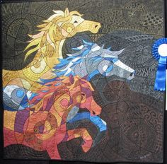 Galloping Wild and Free Horses - by Helen Godden Horse Quilt, Quilt Modernen, Animal Quilts, Landscape Quilts, Applique Quilts, Patchwork Quilting, Textile Artists, Fabric Art, Cotton Fabric