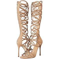Sergio Rossi Farrah (Honey Cream Suede) High Heels ($885) ❤ liked on Polyvore featuring shoes, sandals, gold, suede platform sandals, tie gladiator sandals, high heel stilettos, lace up gladiator sandals and suede gladiator sandals