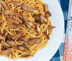 Leftover Makeover: Roast Pork Lo Mein recipe | Epicurious.com (recipe from The Chinese Takeout Cookbook. I used leftover bbq pork. this was yummy!)
