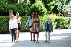 Michelle Obama visits the United States Pavilion along with artist Joan Jonas, her mother Marian Robinson and her two young daughters, Malia and Sasha in Venice, Italy