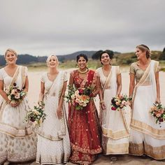 Indian Bridesmaid Dresses that Are Drop Dead Gorgeous Indian Wedding Bridesmaids, Indian Bridesmaid Dresses, Bridesmaid Outfit, Indian Wedding Outfits, Bridal Wedding Dresses, Brides And Bridesmaids, Wedding Ceremony, Wedding Bouquets, Wedding Flowers