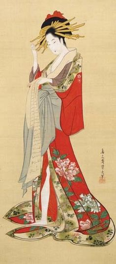 "thekimonogallery: ""Standing Beauty"" by CHOBUNSAI Eishi (1756~1829), Japan 鳥文斎栄之「立美人図」"