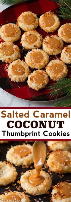 Salted Caramel Coconut Thumbprint Cookies - A must try cookie recipe! Tender buttery thumbprint cookies are coated with sweet shredded coconut and filled with salty decadent caramel. They re so delicious! via cookingclassy Kokos Desserts, Coconut Desserts, Coconut Recipes, Köstliche Desserts, Best Dessert Recipes, Cookie Recipes, Coconut Cookies, Lemon Desserts, Tart Recipes