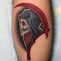 Grim Reaper Men's Calf Sleeve Tattoos