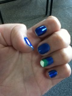 Blue, Green, White  Accent Nail
