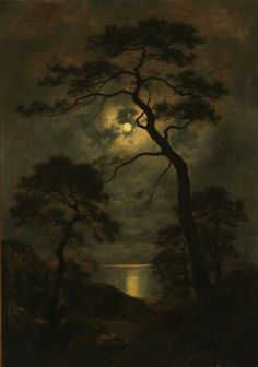 landscape photo Landscape in Moonlight ~ Georg Emil Libert - (Danish, 1820 - Landscape Art, Landscape Paintings, Moonlight Painting, Arte Obscura, Beautiful Moon, Moon Art, Moon Moon, Fine Art, Dark Art