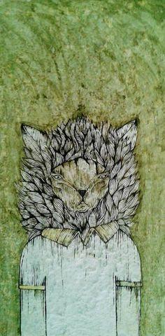 """""""un gatito serio """" Adnan Galva  Técnicas mixtas  Arte en Pintura  facebook Arte Galva"""