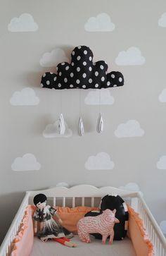 It is always fun to decorate nursery room. Cloud Nursery Decor, Clouds Nursery, Nursery Room, Nursery Ideas, Boy And Girl Shared Bedroom, Baby Bedroom, Cloud Stencil, Yellow Nursery, Kids Room Wallpaper