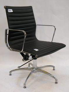 ebay second eames style med black leather office task chair on