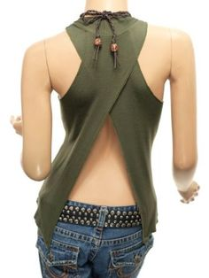 Patty Women Sexy Cross Back Necklace Hippie Top Cami, fantastic look for the Sexy Outfits, Casual Outfits, Fashion Outfits, Backless Shirt, Backless Top, Diy Camisa, Blusas T Shirts, Love Fashion, Womens Fashion