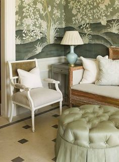 19 Ideas Wallpaper Living Room Green Chinoiserie Chic For 2019 Living Room Green, Green Rooms, Interior Decorating, Interior Design, Room Interior, Interior Ideas, Decorating Ideas, Decor Ideas, Hand Painted Walls