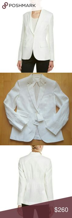 """Max Mara White Linen jacket Size: 6. This item tends to run small. I recommend sizing up for your best fit.  Color: White. Max Mara Apogeo Smock-back Linen jacket. Notch lapel. Three front flap pockets. Left chest pocket. Smocked detail at back. Approx. 24"""" from shoulder to hem.  Button front. Shell: 100% Linen. Lining: 100% Cotton  Dry Clean only. Made in Italy.  NWT Max Mara Jackets & Coats Blazers"""