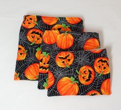 Halloween Reusable Lunch Bags Set of Three by Quiltwear on Etsy
