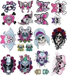 Colored Grim And Girly Punk Tattoo Design