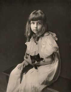 Vintage Photograph of Girl with her kitten