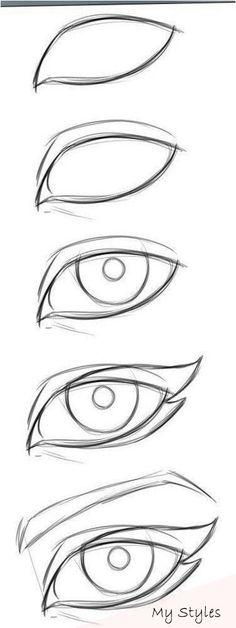 New Eye Drawing Tutorial Easy 57 Ideas Easy Drawing Tutorial, Cat Eye Makeup Tutorial, Eye Drawing Tutorials, Drawing Tips, Drawing Reference, Sketch Drawing, Design Reference, Drawing Ideas, Sketching