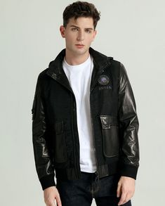 The detachable hood makes it the perfect apparel for protecting you against the winter chill in the colder months while offering a stylish look. Boys Leather Jacket, Leather Men, Clean Shaven, Collar Styles, Casual Looks, Rib Knit, Military Jacket, Bomber Jacket, T Shirt
