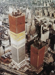 Construction of the Twin Towers of the World Trade Center, finished in 1972 and 1973