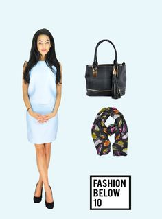 #formalwear#paleblue#twopiecesuit#daydress#scarf#blackhandbag#howtowearaplaebluedresswww.fashionbelow10.com