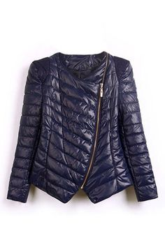 Asymmetric Zip Quilted Padded Coat OASAP.com