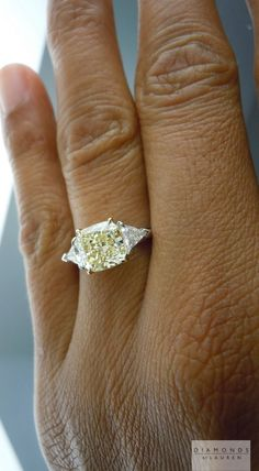 yellow cushion cut diamond ring
