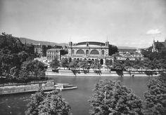 Der Hauptbahnhof 1946 von der gegenüberliegenden Flussseite gesehen.