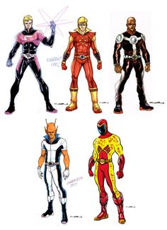 Design di Yildiray Cinar per (in alto, da sinistra) Element Lad, Sun Boy, Tyroc; (in basso) Chameleon Boy, Wildfire