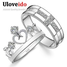 Find More Rings Information about Crown Ring 925 Silver Women Couple Rings for Lovers Wedding Jewelry Ring with Cross Shape Men Anillos Bijuteria Uloveido J412,High Quality jewelry set for kids,China jewelry boyfriend Suppliers, Cheap jewelry cover from Uloveido Official Store on Aliexpress.com