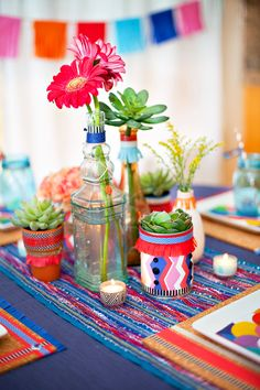 Colorful Fiesta Centerpiece accented with washi tape, tissue fringe, and free HWTM printables!