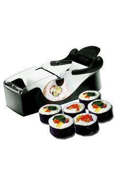 Load up this compact sushi maker with favorite sushi fillings, rice, and nori, then pull and assemble fresh finished rolls