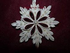 Dekorácie - Bielo-bordová  snehová vločka...)) - 4694812_