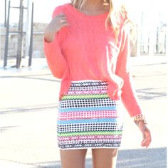 Awesome spring outfit, very vibrant colored skirt