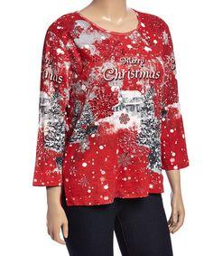 Look at this #zulilyfind! Red 'Merry Christmas' Scoop Neck Top - Plus #zulilyfinds